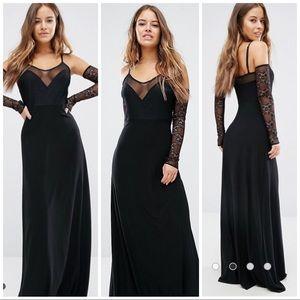 ASOS Exclusive Black Mesh Plunge Maxi Dress